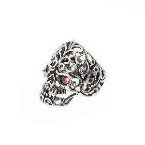 calavera calada anillo de plata
