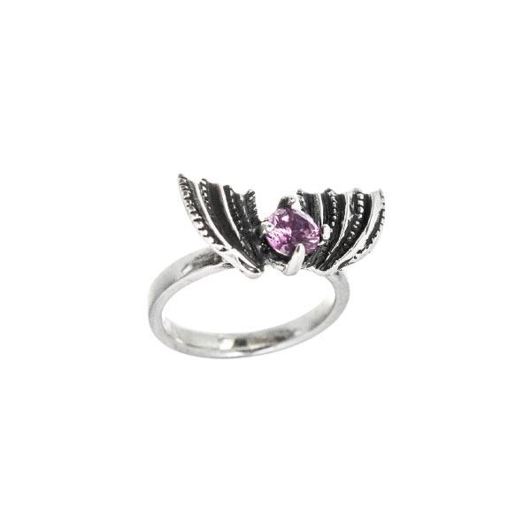 Murciélago anillo de plata con piedra