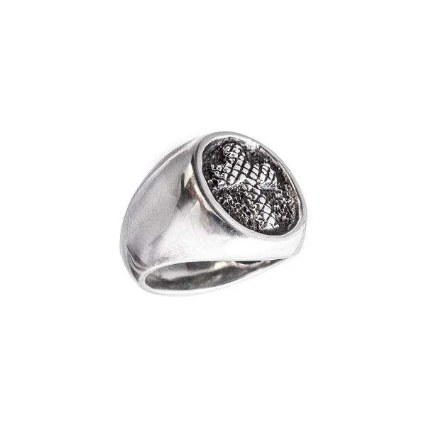 Sello Cruz anillo de plata
