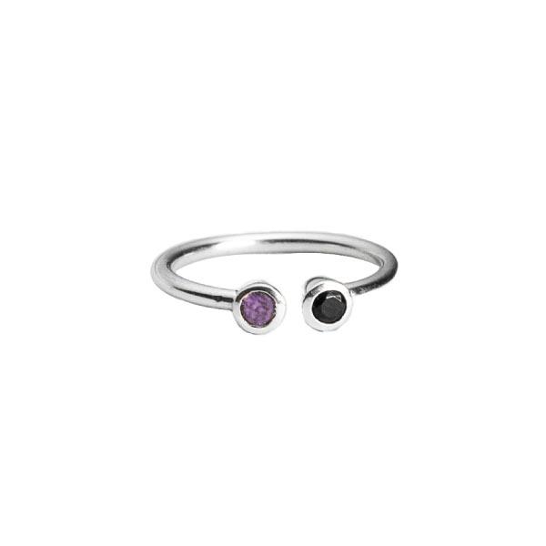 doble piedra anillo sencillo de plata