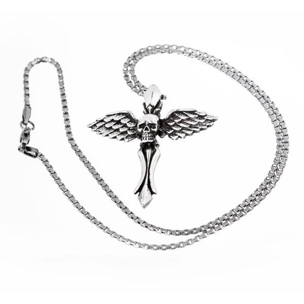 Collar cruz calavera con alas en plata