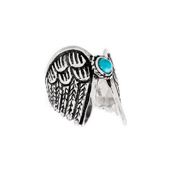 Alas y piedra anillo de plata