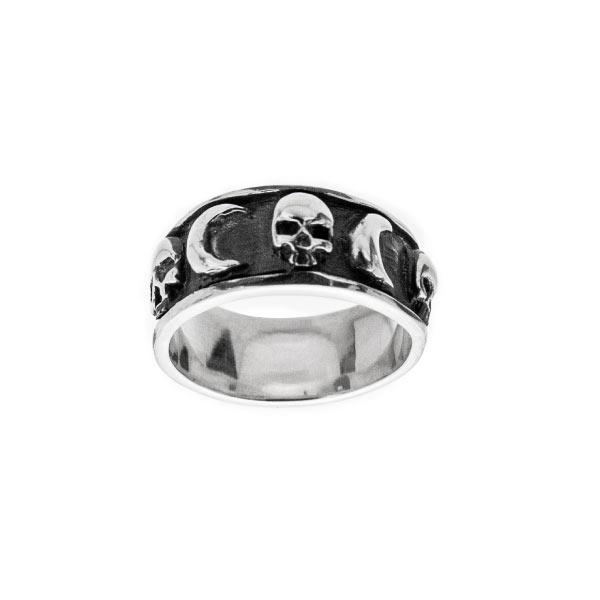 argolla calavera luna anillo de plata
