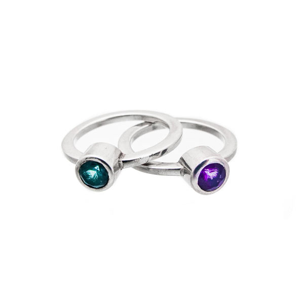 solitario redondo anillo de plata