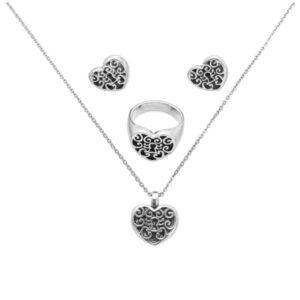 corazón cerradura set collar, aretes, anillo de plata