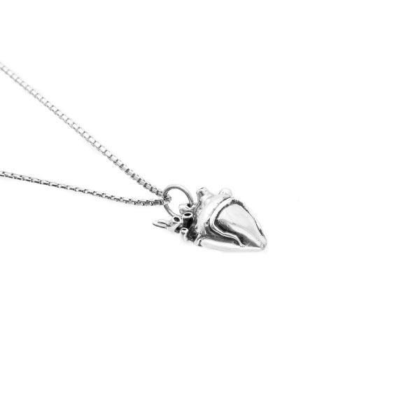 Corazón real collar en plata