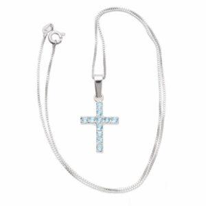 cruz engastada collar de plata