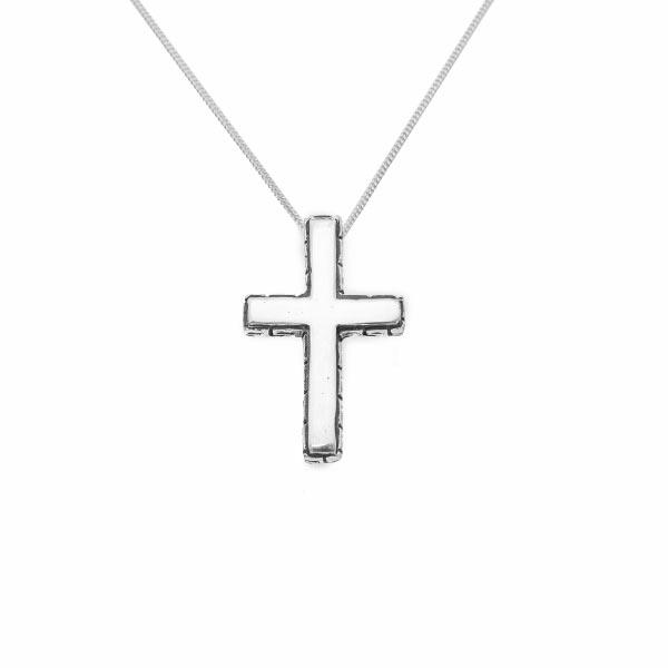 Cruz labrada collar de plata