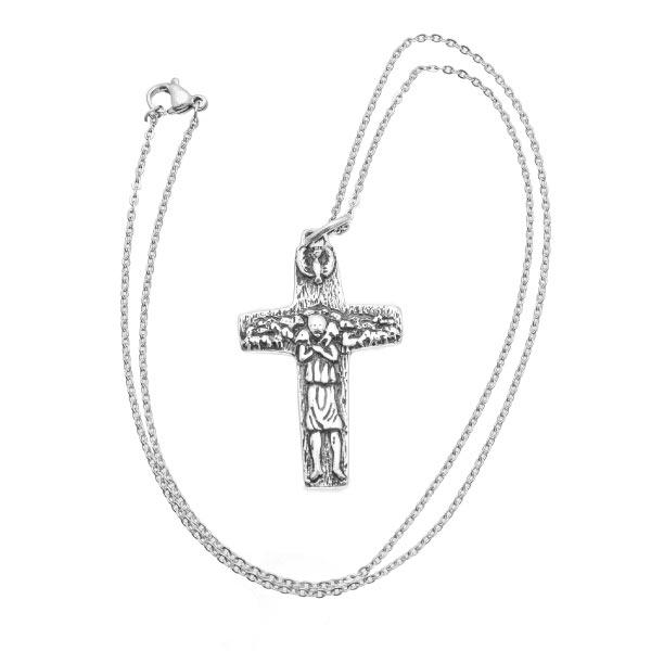 Cruz papal collar de plata