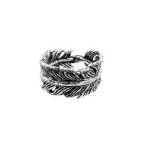 pluma anillo en plata
